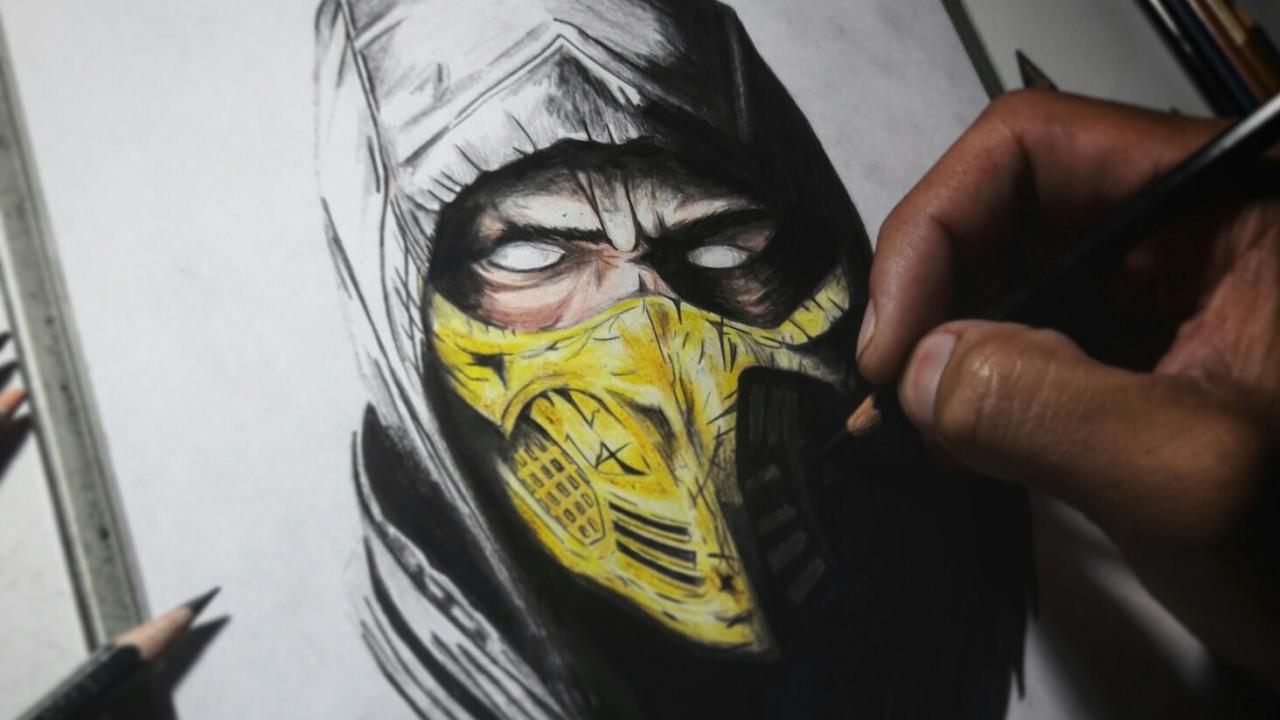 Desenhando Scorpion Mortal Kombat Drawing Scorpion Speedart