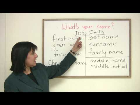 English Vocabulary - First name? Given name? Forename? What's your name?