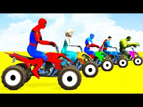 Thumbnail: COLOR ATV and TRACTORS into the Water w Spiderman Cars Kids Superheroes Cartoon fro Children Babies