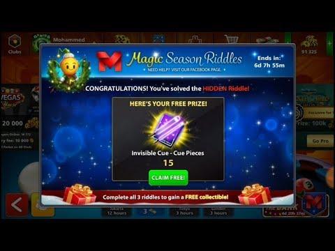 Magic season riddles   8Ball Pool   Hidden Riddles   3rd week   Trick get 15 cue pieces Extra