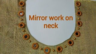 Mirror work design and neck without canvas tutorial in Malayalam