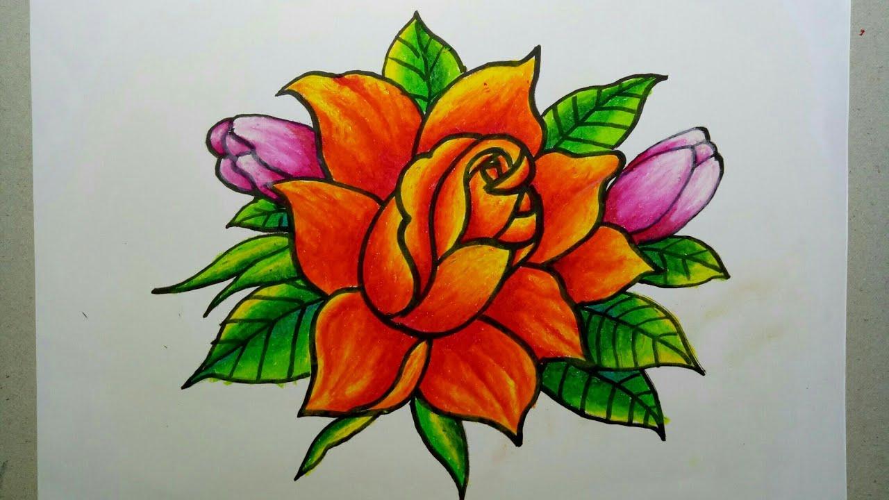 Menggambar Bunga Dengan Gradasi Warna Menggunakan Oil Pastel Youtube
