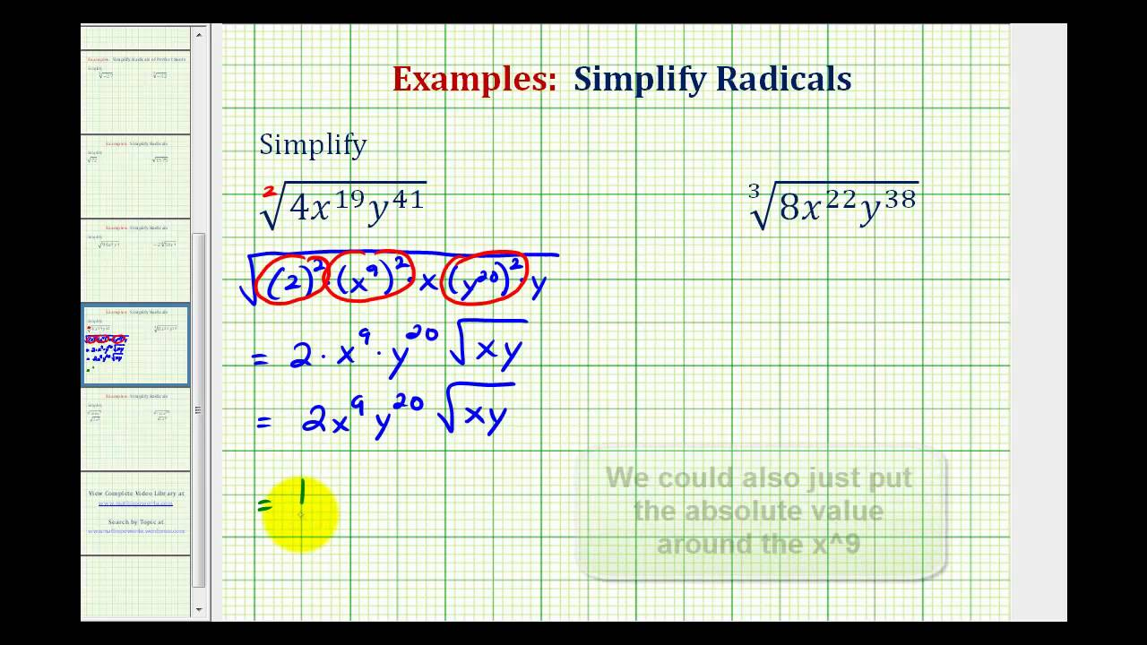 Simplifying Radicals With Variables And Exponents Worksheet – Multiplication and Division of Radicals Worksheets
