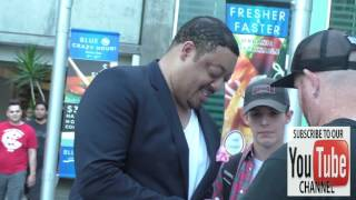 Cedric Yarbrough greets fans arriving to the Amateur Night Premiere at ArcLight Theatre in Hollywood