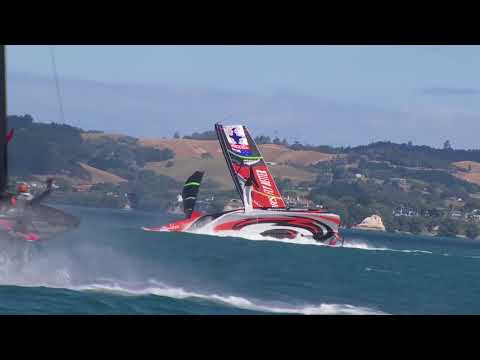 Dramatic capsize AC75 Emirates Team New Zealand America's Cup practise before Prada Cup