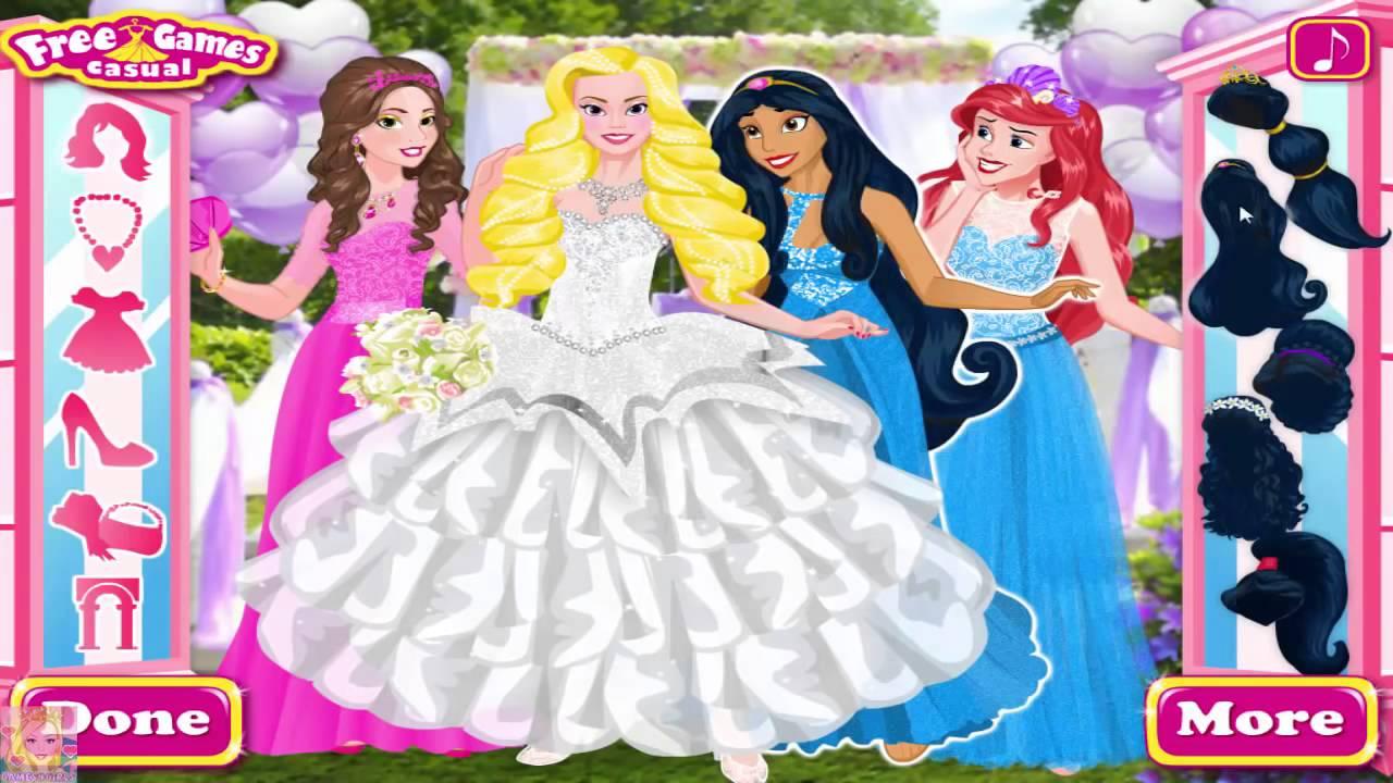 Disney princess bridesmaids princess aurora ariel belle and disney princess bridesmaids princess aurora ariel belle and jasmine wedding dress up ombrellifo Image collections