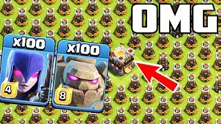 1000 Ice Wizard | Golem | Witch VS Full Bomb Tower Strategy | COC Mod Server Funny Gameply