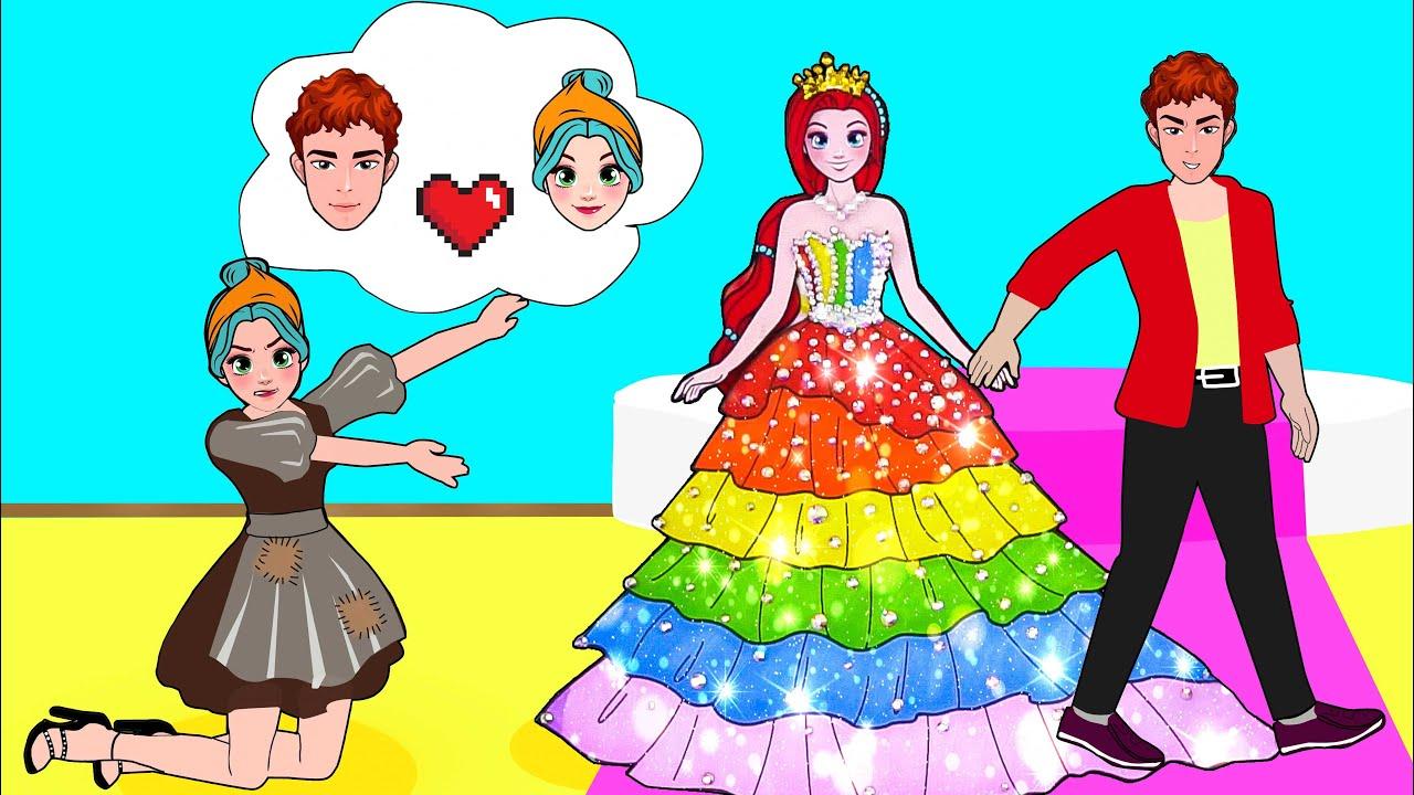 Paper Dolls Dress Up - God Pearls and Rainbow Skirt Mermaid Dress - Barbie Story & Crafts