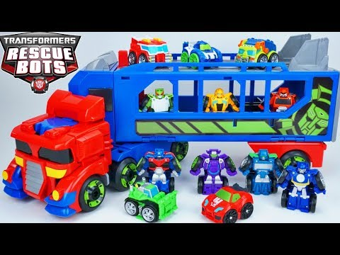 TRANSFORMERS RESCUE BOTS OPTIMUS PRIME RACE TRAILER FLIP RACERS BLURR SIDESWIPE BUMBLEBEE ARE FAST