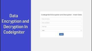 Encrypt Decrypt in Codeigniter - Insert Data
