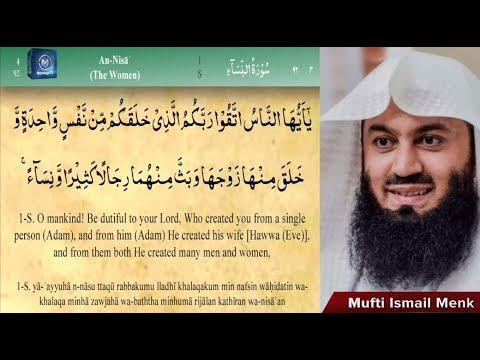 Mufti Menk - Beatifull Quran recitation Surah An-Nisa [4] Ayat 1 - 59 With English & Translation