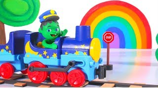 FUNNY KIDS & THE FRUIT RAINBOWN TRAIN ❤ Play Doh Cartoons For Kids