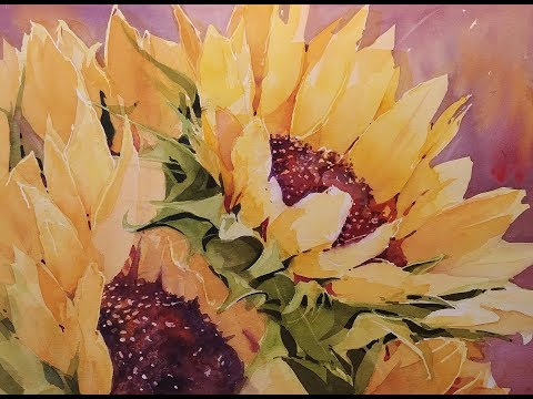 """Sunflower Burst"" Transparent Watercolor Demonstration"