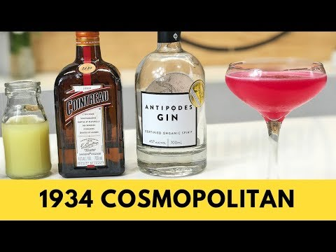 1934 Cosmopolitan Cocktail Recipe Gin & Raspberry Syrup???