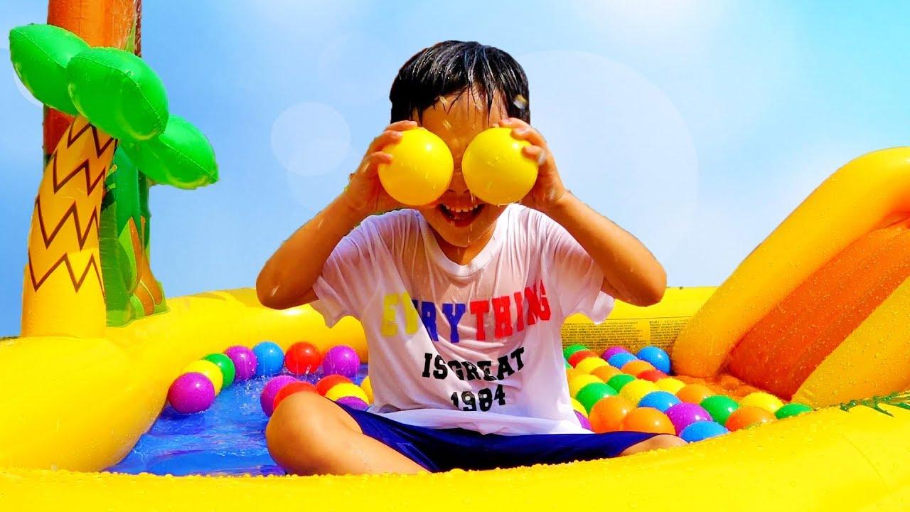 핑거송 부르면서 풍선 색깔놀이 예준이의 수영장 플레이 하우스 타요 버스 자동차 장난감 놀이 핑거 패밀리 동요 Learn Colors with Ball Pool House