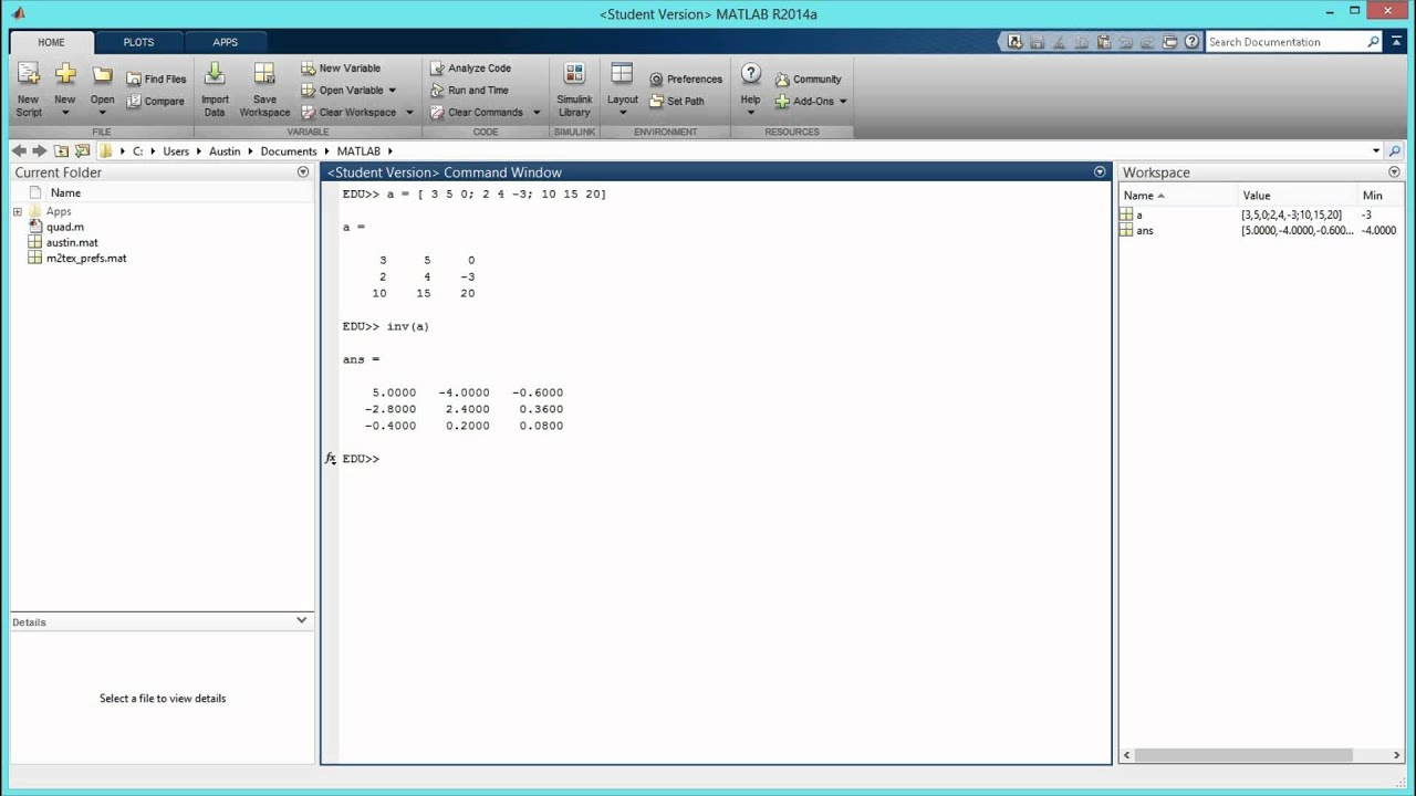 How to Find the Inverse of a Matrix in MATLAB  [HD]