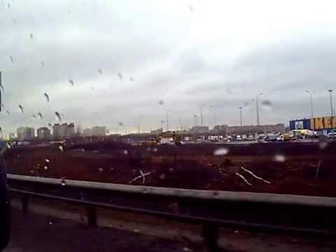 съезжаем с кад спб к мега икея дыбенко через мурманское шоссе вид
