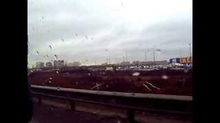 Съезжаем с КАД СПб, к МЕГА ИКЕЯ ДЫБЕНКО, через Мурманское шоссе, вид с пассажирского окна, паркуемся