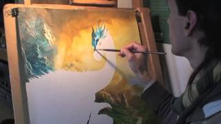 """Ciruelo paints """"Eragon and Saphira"""" with oils on canvas."""