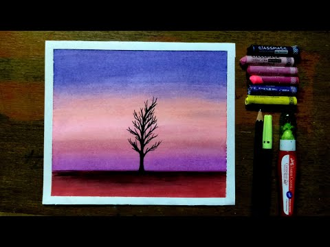 Simple oil pastels drawing for beginners