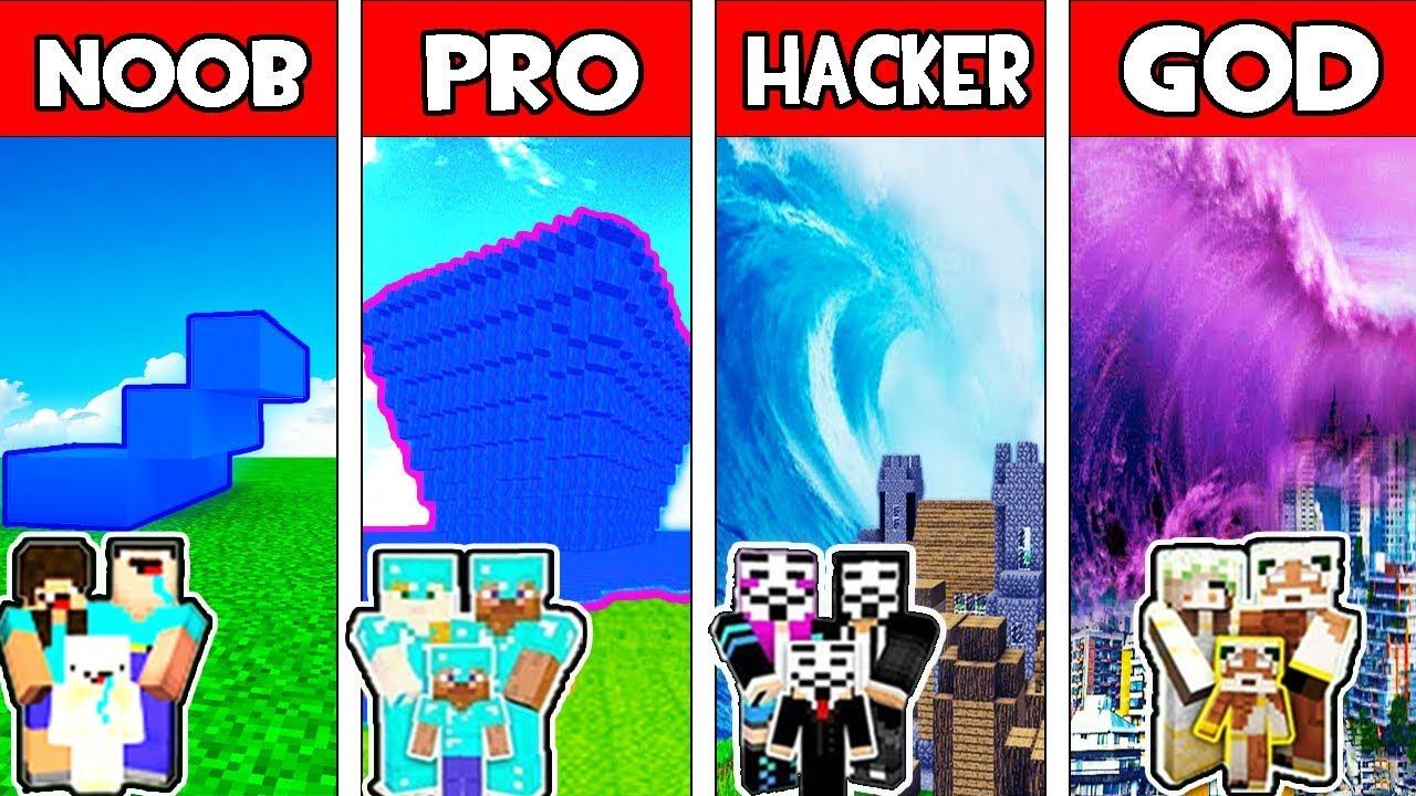 Minecraft - NOOB vs PRO vs HACKER vs GOD : FAMILY TSUNAMI in Minecraft  Animation