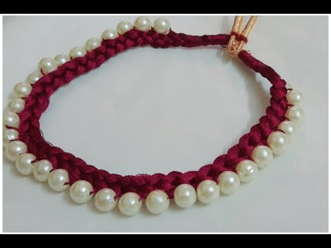 How to make silk thread necklace |  Beautiful silk thread and pearl necklace