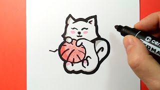 How to draw a kitten, easy and cute, happy drawings