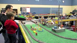 Passenger Train, Freight Train, and Erector Sets on ACSG W&OD Layout