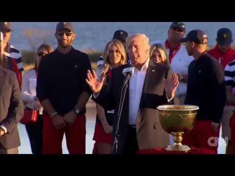 Trump dedicates golf trophy to hurricane victims - Dauer: 46 Sekunden
