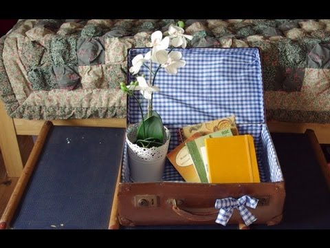 How to line & up-cycle a vintage suitcase! - YouTube