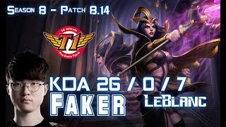 SKT T1 Faker LEBLANC vs GALIO Mid - Patch 8.14 KR Ranked