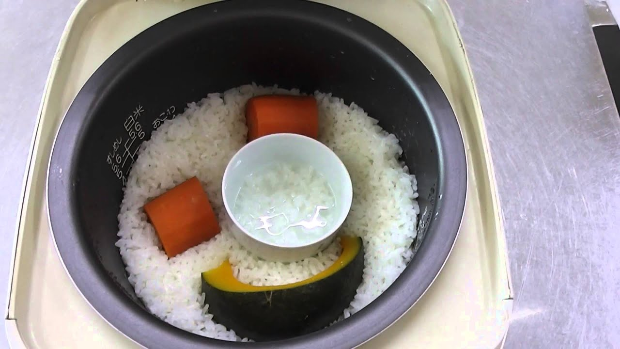10倍がゆと蒸し野菜の作り方2(炊飯器で大人のご飯と一緒に炊く方法)