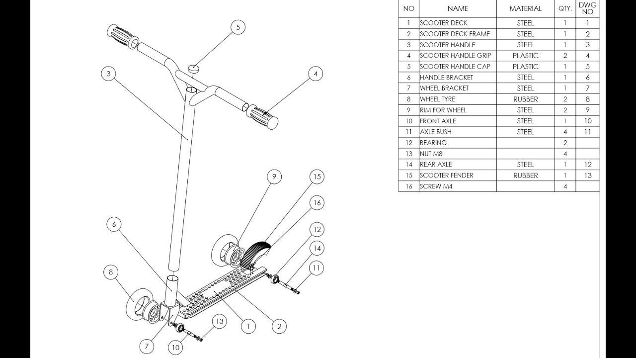 small resolution of scooter deck diagram wiring diagram database exploded view and drawing for scooter project youtube scooter deck