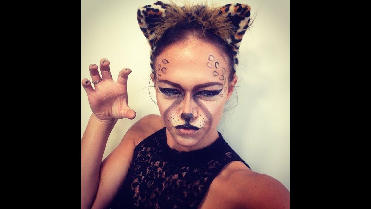 cheetah halloween makeup - YouTube