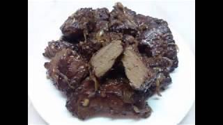 Говяжья печень жареная с луком, очень быстро и вкусно )))