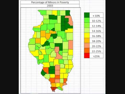Map: Percentage of Minors in Poverty in Illinois