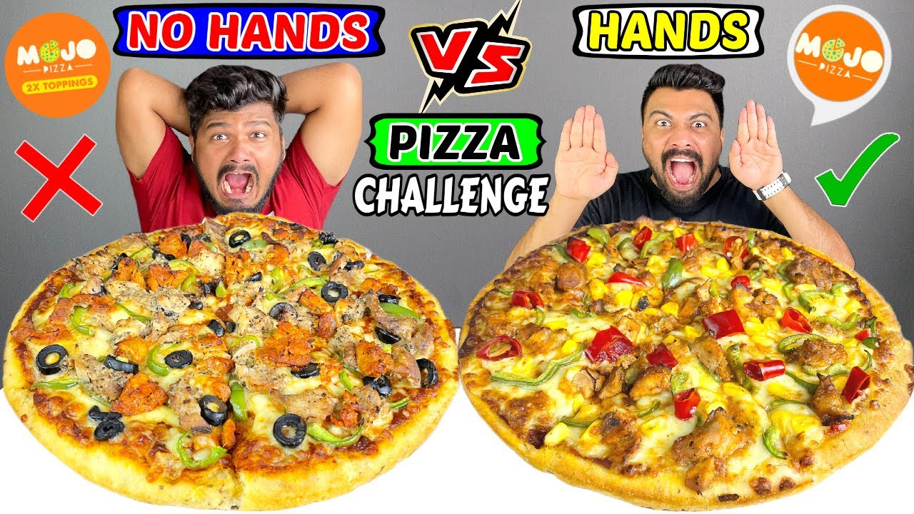 Hands vs No Hands Pizza Eating Challenge ft. MOJO Pizza | PIZZA EATING COMPETITION | (Ep-393)
