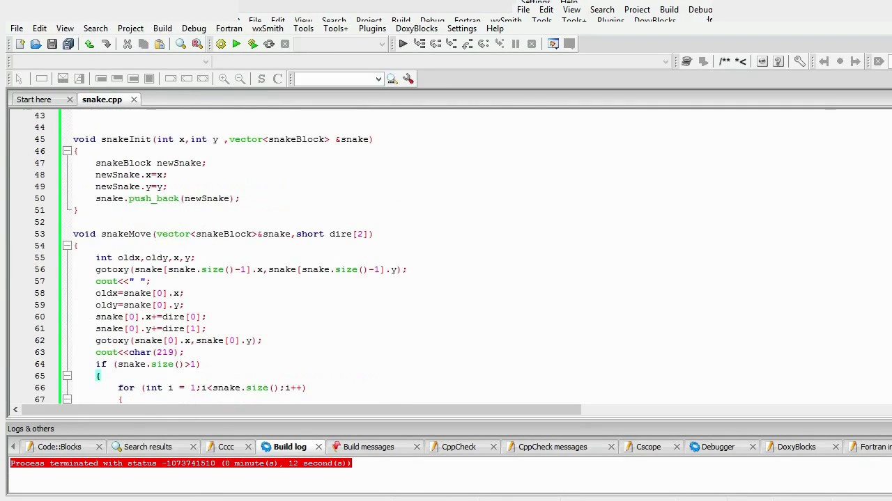 How to make an Easy C++ Snake Game Code::Blocks Source in