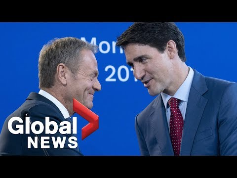 Justin Trudeau, Donald Tusk hold joint news conference during two-day visit | FULL