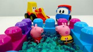 Leo und Peppa Wutz bauen einen Pool – Lustige Videos für Kinder