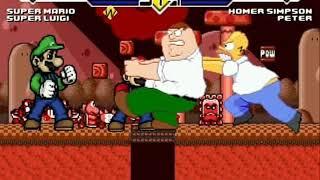 Super Mario & Super Luigi vs Homer & Peter MUGEN Battle!!!