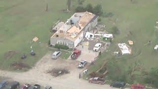 Kansas Tornado Damage - Governor Views From Air