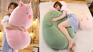 Dinosaur pillow plush toys cute pig doll girls bed holding a sleeping doll long pillow cushion doll