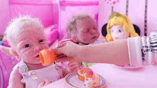 Feeding Cute Baby Dolls- Kids Kitchen Set