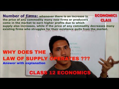 WHY DOES LAW OF SUPPLY OPERATES || REASON FOR LAW OF SUPPLY OPERATION || THEORY OF SUPPLY CLASS 12