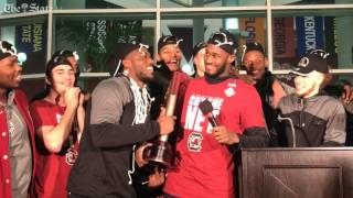 Gamecocks players talk to crowd outside Colonial Life Arena