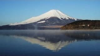 気温マイナス10℃の朝、山中湖の湖面に気嵐(けあらし、蒸気霧)が発生しました。 The Steam Fog at Yamanakako-Lake is caused by cold temperature in Winter.