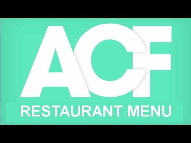 Advanced Custom Fields | Restaurant Menu
