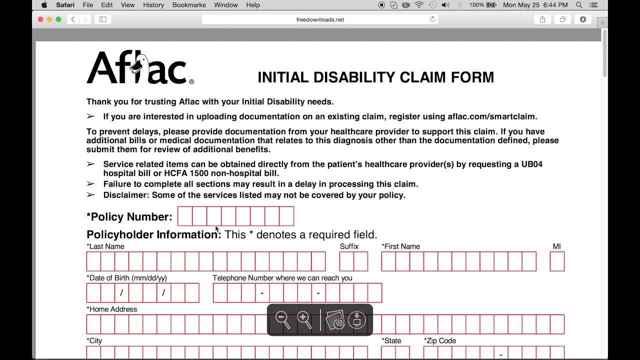 Enterprising image in aflac printable claim forms