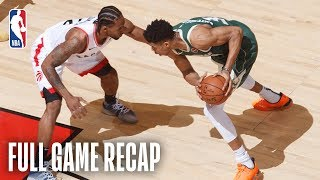 Behind Kawhi Leonard's game-high 36 points (8 points in the 2nd OT), 9 rebounds, 5 assists and 2 steals, the Raptors defeated the Bucks 118-112 in just the 6th double-overtime Conference Finals matchup in NBA Playoffs history. Additionally, Leonard recorded an NBA Playoffs franchise record 52 minutes of play, while Marc Gasol added 16 points (5-10 FG, 4-8 3pt FG), 12 rebounds, 7 assists and 5 blocked shots in the victory. Giannis Antetokounmpo posted 12 points, 7 assists, 4 blocks and an NBA Playoffs career-high 23 rebounds for the Bucks in the losing effort, becoming the 7th player to record 10 PTS/20 REBS/5 ASTS/4 BLKS in an NBA Playoffs game (T. Duncan, B. Wallace, S. O'Neal, P. Ewing, B. Walton and K. Abdul-Jabbar). The Bucks' series lead is now 2-1 with Game 4 set to take place on Tuesday, May 21st in Toronto at 8:30p.m. ET on TNT.  GAME 4: 🏀: Bucks vs. Raptors 📅: May 21, 8:30pm/et 📺: TNT  For Full Game Recaps visit: https://bit.ly/2MQ6ijV  Subscribe to the NBA: http://bit.ly/2rCglzY  For news, stories, highlights and more, go to our official website at http://www.nba.com  Get NBA LEAGUE PASS: http://www.nba.com/leaguepass  #Bucks #Raptors #NBA
